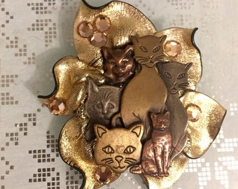 1980's Artisan Cat Brooch/Pin, Handmade, Mixed Metals, Cat Lover Pin, Excellent Condition.