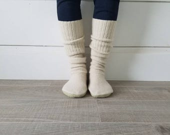 "Cream Sweater Socks // Size 5-8, 17"" Tall // Cabin Socks // upcycled wool sweater // Washable // Thick felted wool sole"