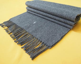 """Polo Ralph Lauren Scarf Lambswool Pony Solid Theme Black Vintage Muffler Foulard Shawl Wrap Made In England 60"""" X 12.5"""""""
