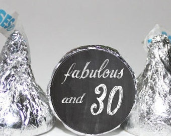 30th Birthday Stickers, Hershey Kiss Labels, Chalkboard Hershey Kiss Labels, 108 Birthday Candy Stickers 30th Hershey Kiss Birthday Stickers
