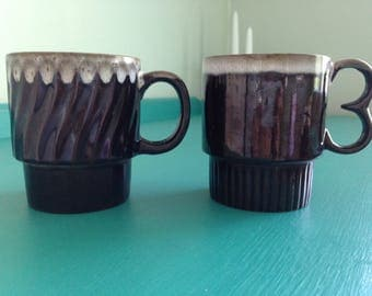 Set of Two Vintage Brown Drip Coffee Cups, Mugs