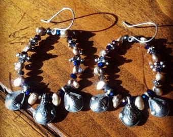 Elegant Pastel Pearl, Crystal, and Kuchi Earrings