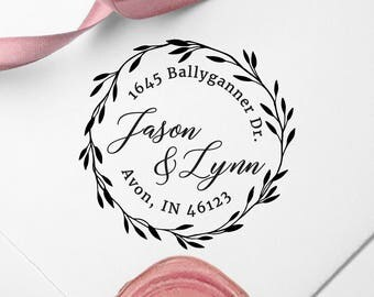 Custom Refillable Self-Inking Stamp, Self Ink Return Address Stamp, Rubber Wood Stamp, Personalized Address Stamp, Wedding Stamp, PS10