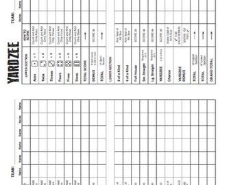 PDF 8.5x11 yardzee score card - two to a page - double scorecard