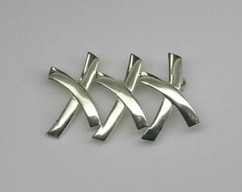 Vintage Modern Sterling Silver XXX Triple X Brooch Pin