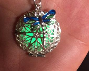 Blue green dragonfly charm