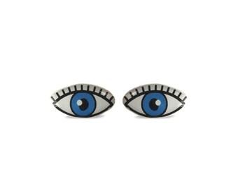 Blue Eye Stud Earrings - Eye Earrings - Eyes Earrings - Eye Stud Earrings - Cool Stud Earrings - Hypoallergenic Stud Earrings