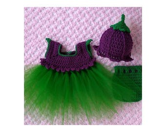 Pixie tutu dress with tulip hat and diaper cover. All colors.  Newborn, 0-3,3-6,6-12 Baby Shower, Photo Prop coming home. FREE SHIPPING
