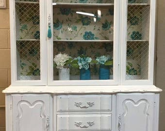 SOLD~Vintage French Provincial-China Cabinet-Hutch-Display Cabinet
