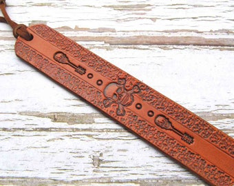 Leather Bookmark-Book Mark-Bookmarks-Skull-Crossbones-Skeleton Key-Pirate-Handmade-Tooled Leather-Book Accessories-Back to School-Gifts