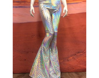 Metallic Iridescent White Rainbow Mermaid Tail Flare Leggings Tights Bell Bottom Pants Spandex Shiny Lame Foil Hologram