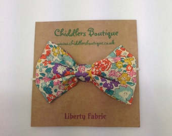 Handmade Liberty fabric D'anjo fabric hair bow bobble, hair tie, hair band