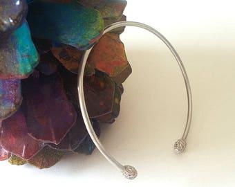Open Bangle, Silver Bangle, Bracelet Gift, Silver Bangle, adjustable bracelet, cuff bracelet, Sterling Silver Bangle