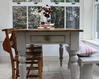 Large Restored Rustic Vintage Farmhouse Table with Turned Legs in Zinc Grey and Single Drawer