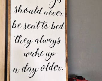 Little Boys Should Never Be Sent to Bed - Peter Pan Framed Wood Sign - Little Boy Sign - Boy Nursery Sign - Boy Decor