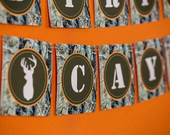 Hunting Birthday Banner - Instant Download Happy Birthday Banner with Camouflage Background - Hunting Party Banner by Printable Studio