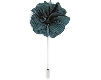 FLP1207 - Men's Flower Lapel Pin: Deep Sea Green Silk Carnation. Fashion, Wedding Boutonniere. Lovely Lapels