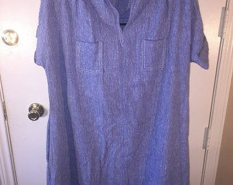 1970's Denim Dress with front and side pockets