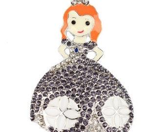 Red Haired Princess Chunky Bead Bubblegum Rhinestone Pendant