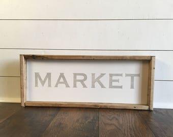 Market sign, Market wood sign