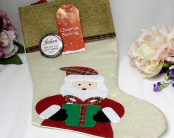 Christmas Stocking with Personalised  badge