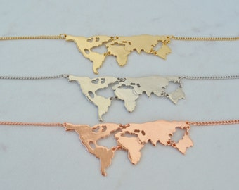 World Map Necklace- 3 options