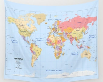 wall tapestry political world map home decor wall modern warming