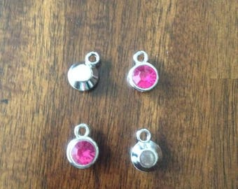 Set of 4 Magenta Birthstone Charms