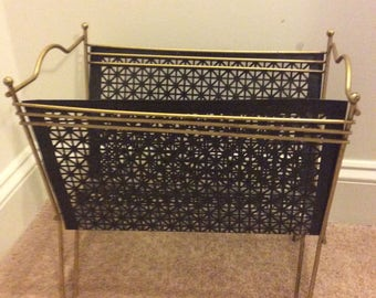 Vintage Black Metal Mesh and Gold Brass Magazine Holder, Album Rack, Hollywood Regency Shabby Chic, Retro Storage