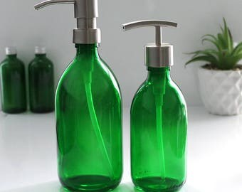 Emerald Green Glass Bottle Soap Dispenser (300ml - 500ml) with Stainless Steel Pump in a choice of finishes