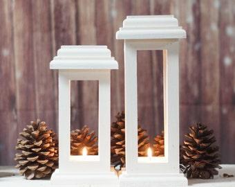 Wedding Lantern Centerpiece, Distressed Wedding White, Wedding Decor, Wedding Table Centerpiece, rustic wedding, DIY wedding, Candle Lantern