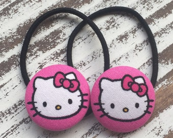 Hello Kitty Ponytail Holder - Cat Hair Tie -  Kawaii Hair Button - Kitty Hair Clip – Hello Kitty Hair Elastic – Hello Kitty Party Favor