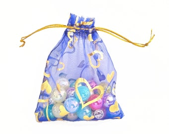 Organza Bags - 15 Blue Voile Drawstring Bags with Pretty Foil Hearts - 3.5x4 Sheer Drawstring Bag - Party Favor Bags - Jewelry Bags - BG402
