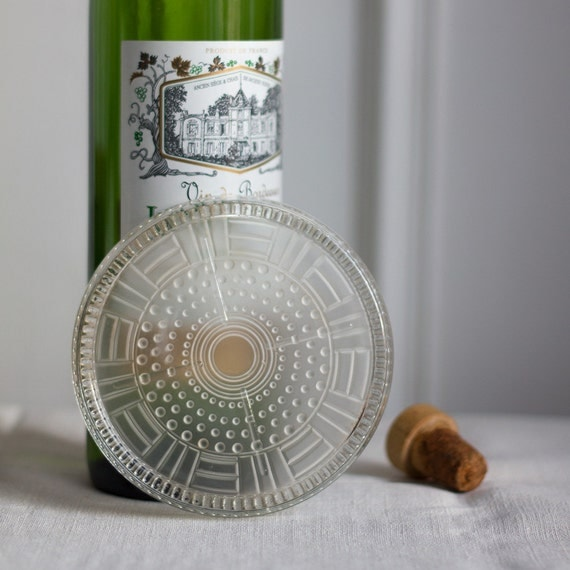 Art Deco Pressed Glass Wine Coaster