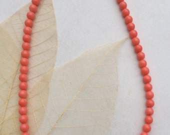 Pink coral necklace  with turquoise beads 20 inch sterling silver beads abd clasp