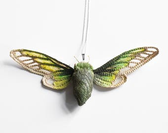 green-cream cicada pendant,fiberart, soft sculpture,
