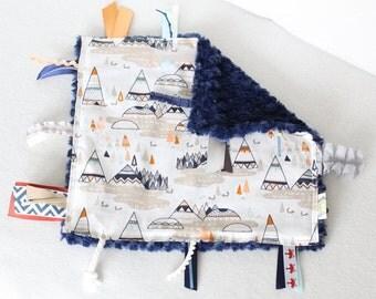 Tag Blanket, Woodland Baby Boy, Baby Boy Tag Blanket, Sensory Blanket, Modern Tag Blanket, Woodland, Navy Baby, Tee Pee Baby Boy, Foxes Baby