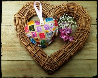 Handmade, vintage style, soft, hanging Heart.