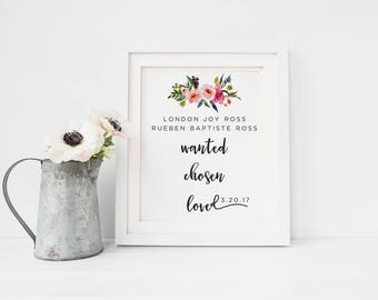 Adoption Day Print, Custom Adoption Print, Name and Date Digital Print, Watercolor Floral Digital Print, Adoption Name Print, Nursery Print
