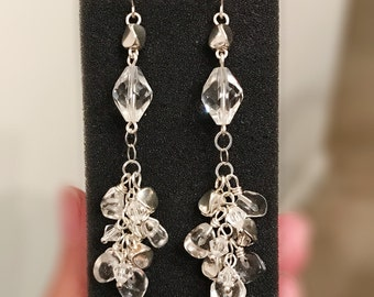 Handmade natural clear crystal quartz and silver beads dangling earrings with sterling silver chain and crystal beads