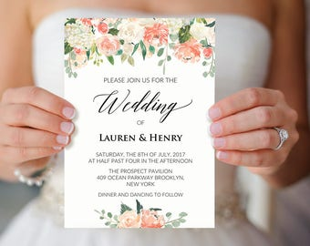 Peach and Cream Floral Wedding Invitation Template, Printable Coral Rustic Wedding Invites, Fits Vistaprint, DIY PDF Instant download #106