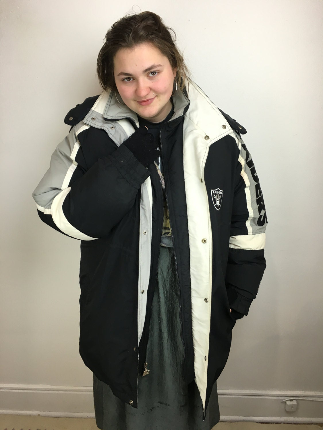 Vintage 90s XL Raiders Starter Jacket Down Puffy Long Coat