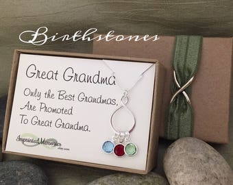 Gifts for Great Grandma Necklace - Sterling Silver Eternity Birthstone Necklace for Great Grandma Mothers Day Jewelry Great Grandma Birthday