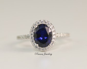 Oval Sapphire Engagement Ring - Oval Cut Ring - Oval Halo Ring - Wedding Ring - blue gemstone ring sapphire - promise ring (2 carat)