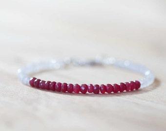 Rainbow Moonstone & Ruby Bracelet, Delicate Beaded Multi Gemstone Bracelet, July Birthstone, Ruby Jewelry, Sterling Silver or Rose Gold Fill