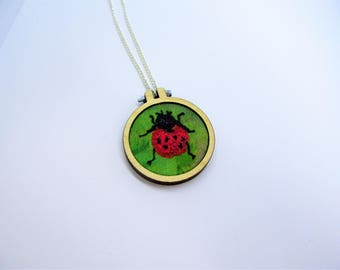Ladybird necklace ~ embroidered necklace ~ embroidery hoop necklace ~ embroidered ladybird jewellery ~ handmade jewellery ~ one off