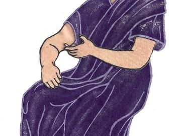 Vintage 1950's Purple Robed Roman Felt Board Applique 3-D Details 10 Inches Long