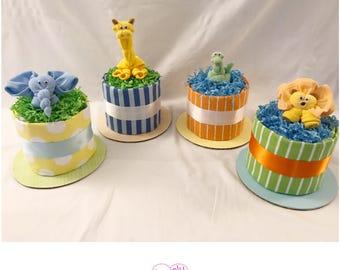 Jungle Mini Diaper Cakes Centerpieces - Jungle Baby Shower Decor - Giraffe/Elephant/Lion/Snake Mini Diaper Cakes