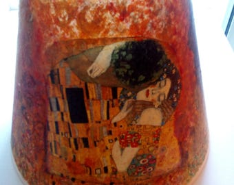 """Lamp shade decoupaged famous Gustav Klimt  """"the kiss"""" tissue paper sealed matte varnish OOAK piece of art for home or amazing gift to offer"""