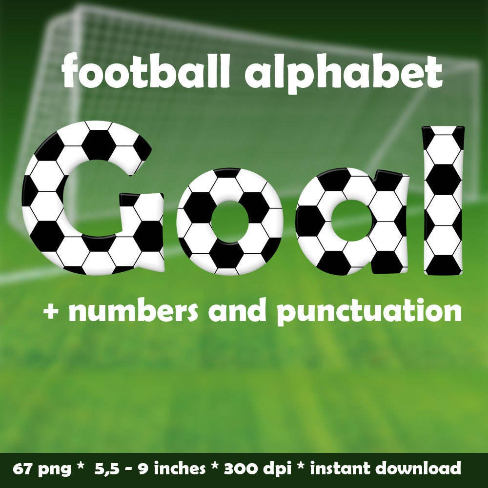 football digital alphabet clipart printable sports font with